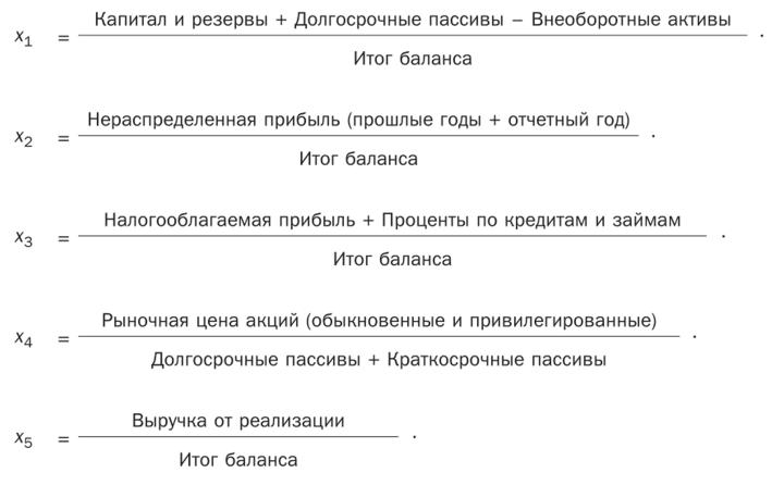 как определить вероятность банкротства по модели альтмана